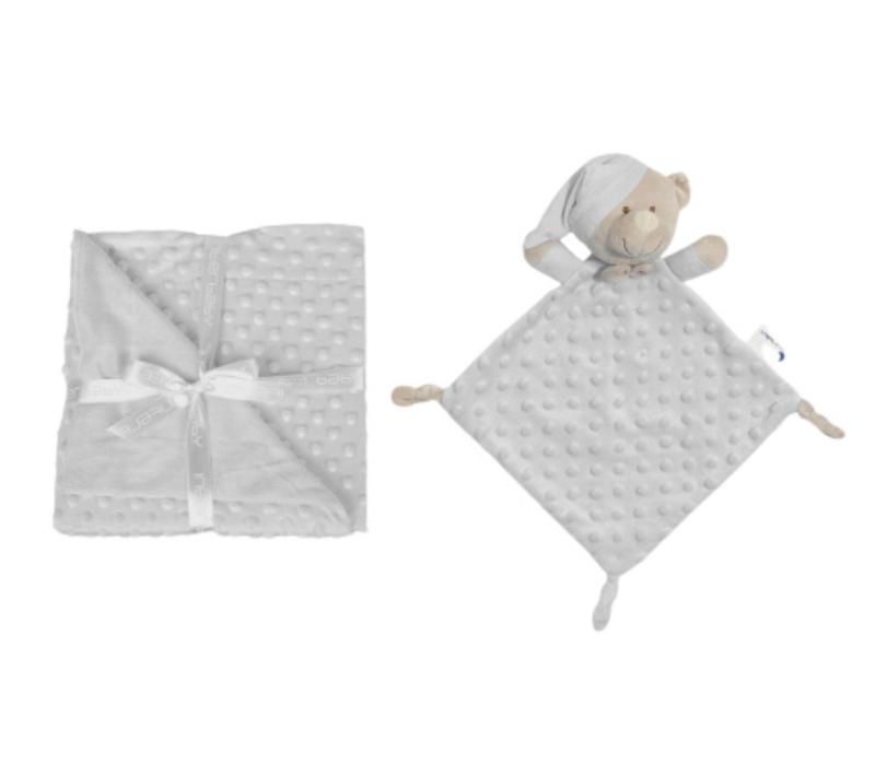 Interbaby κουβερτούλα fleece με κουβερτάκι παρηγοριάς doudou (grey)