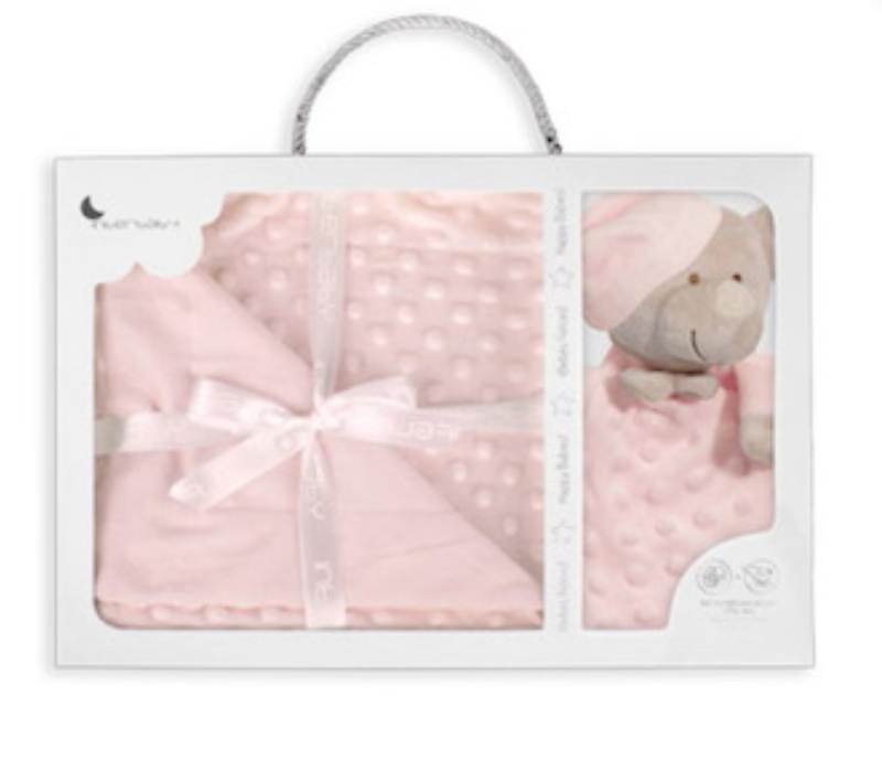 Interbaby κουβερτούλα fleece με κουβερτάκι παρηγοριάς doudou (pink)